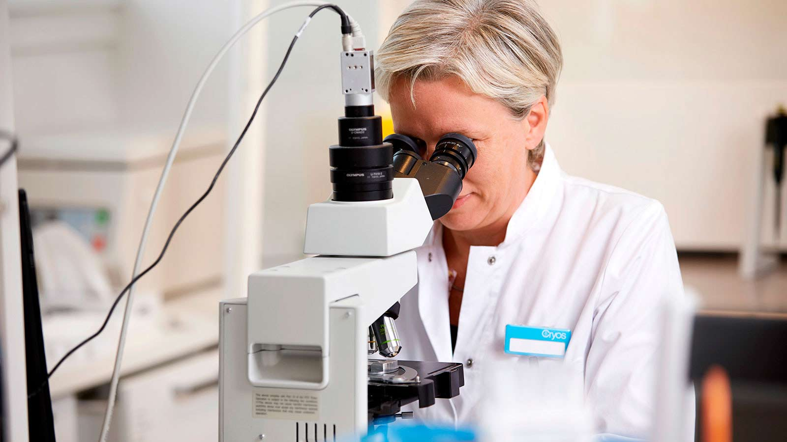 Cryos Labortechnikerin beurteilt die Qualität einer Spendersamenprobe durch ein Mikroskop
