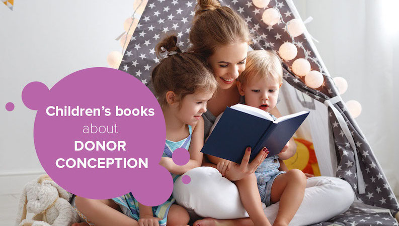 Mother reading children's books about donor-conception to her donor-conceived children