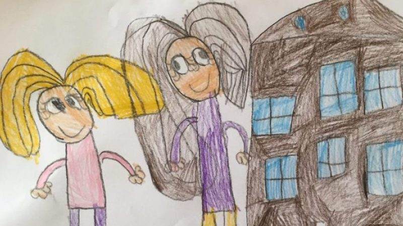 Children's drawing of a solo mom by choice together with her donor child