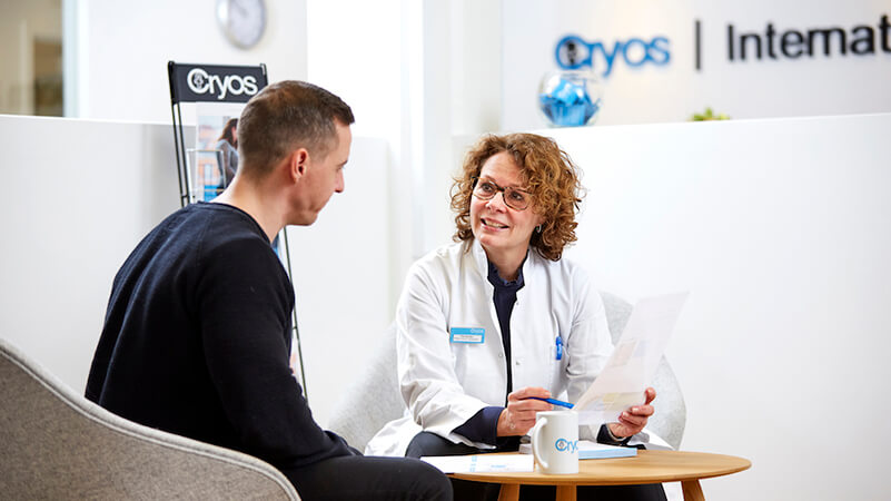 Nurse screening a sperm donor to know if he is healthy to become a donor