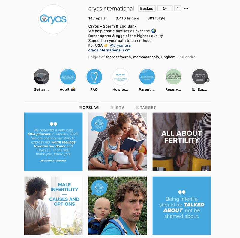 Cryos Instagram profile about fertility, donor sperm and parenthood