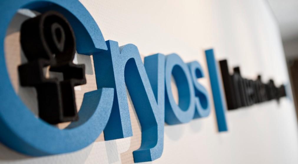 Cryos International sperm bank logo on wall