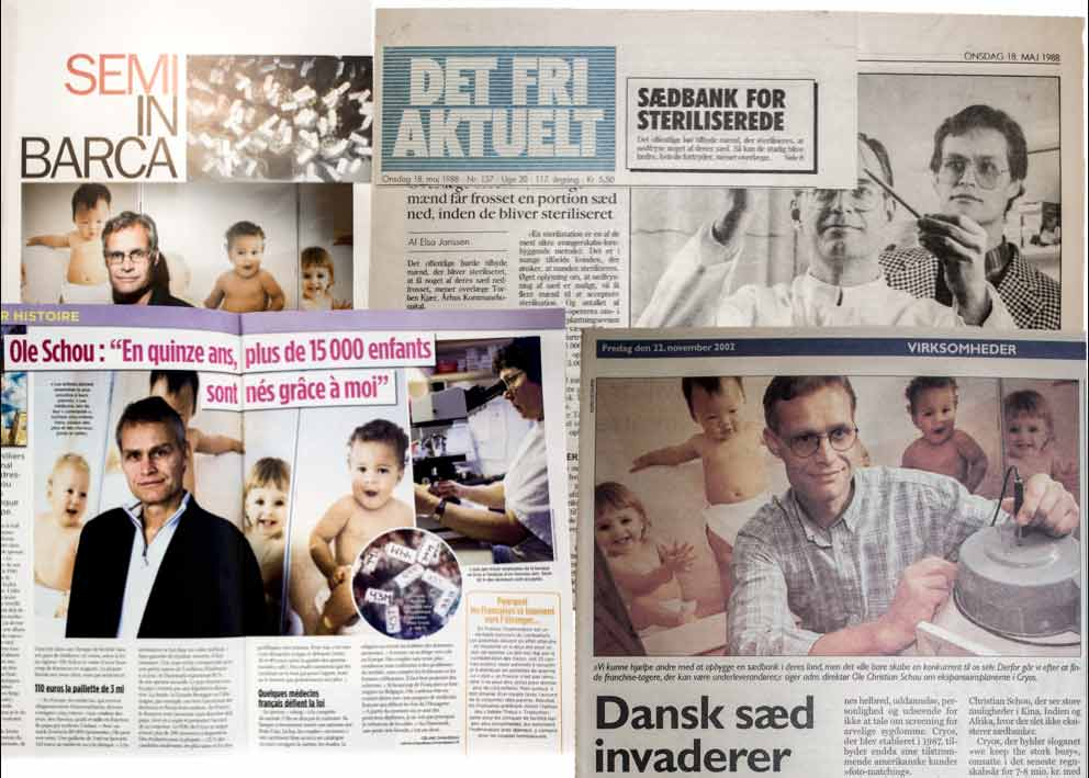 News paper articles with Cryos' founder Ole Schou