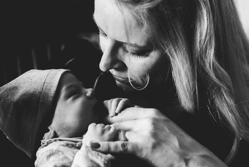 Single mum by choice and her newborn son