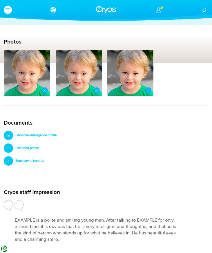 Example of online photos of a sperm donor as a child