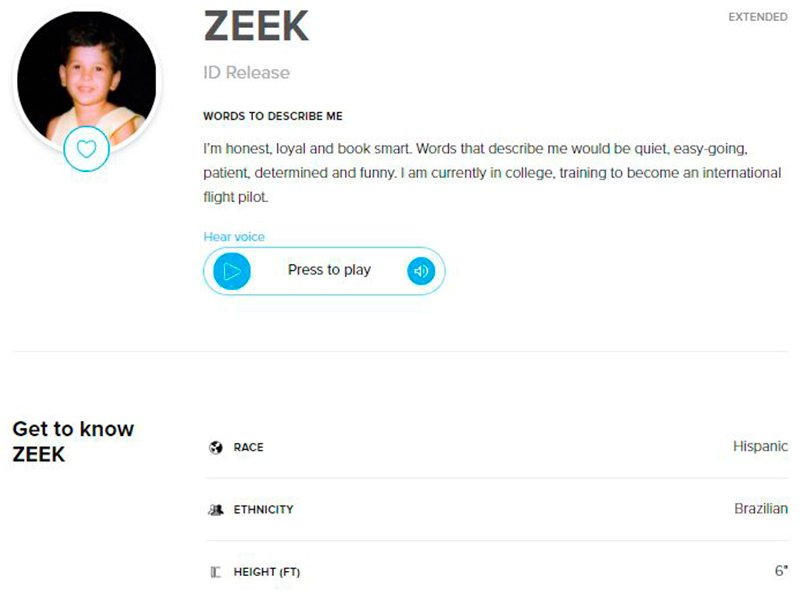Extended Donor Profile for sperm donor ZEEK