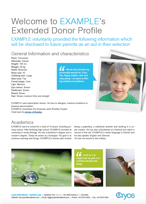 Example of an extended sperm donor profile