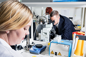 Le PDG de Cryos international, Peter Reeslev, regardant dans un microscope – Photo du dossier de presse de Cryos.