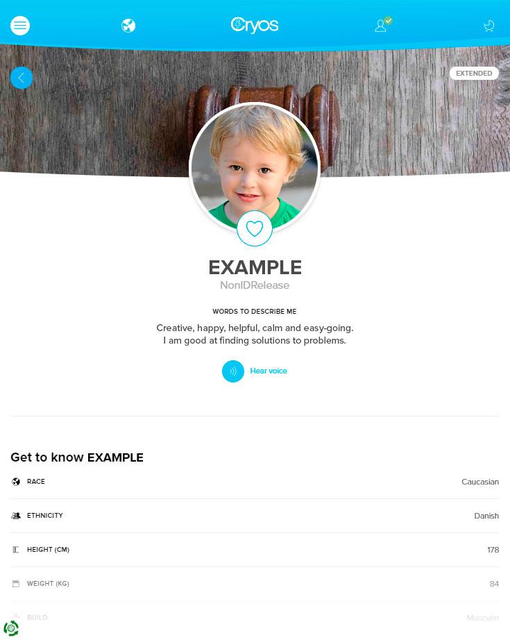 Esempio di profilo di donatore di seme online