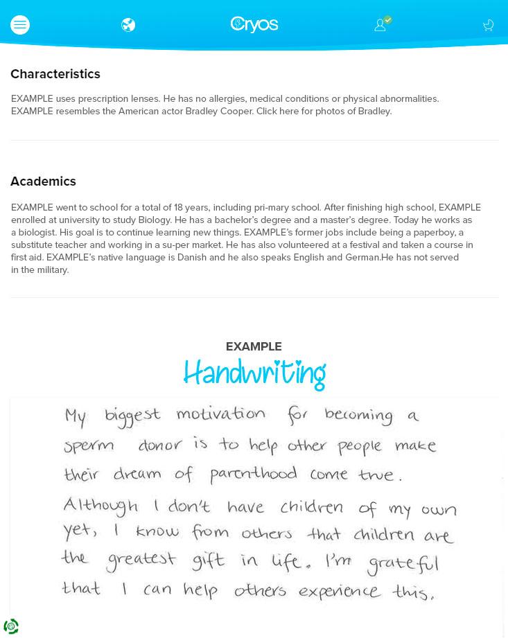 Esempio di profilo di un donatore di seme con informazioni
