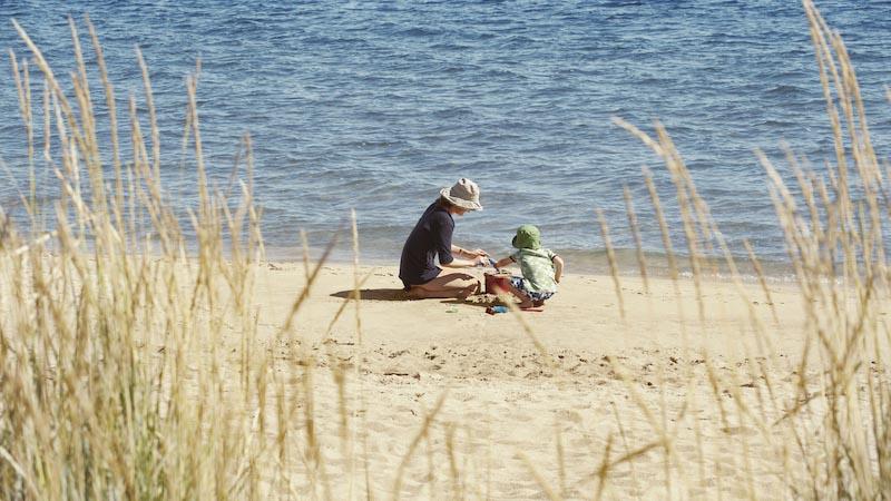 浜辺で息子に彼がドナーの助けにより生まれたことを話す母親