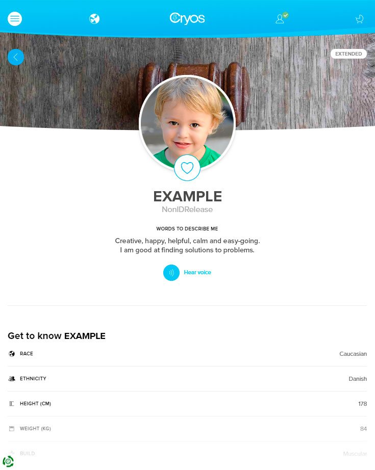 Exemplo de um perfil de doador de esperma online