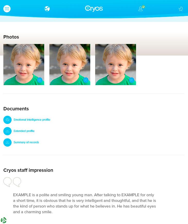 Exemplo de fotografias online de um doador de esperma em criança